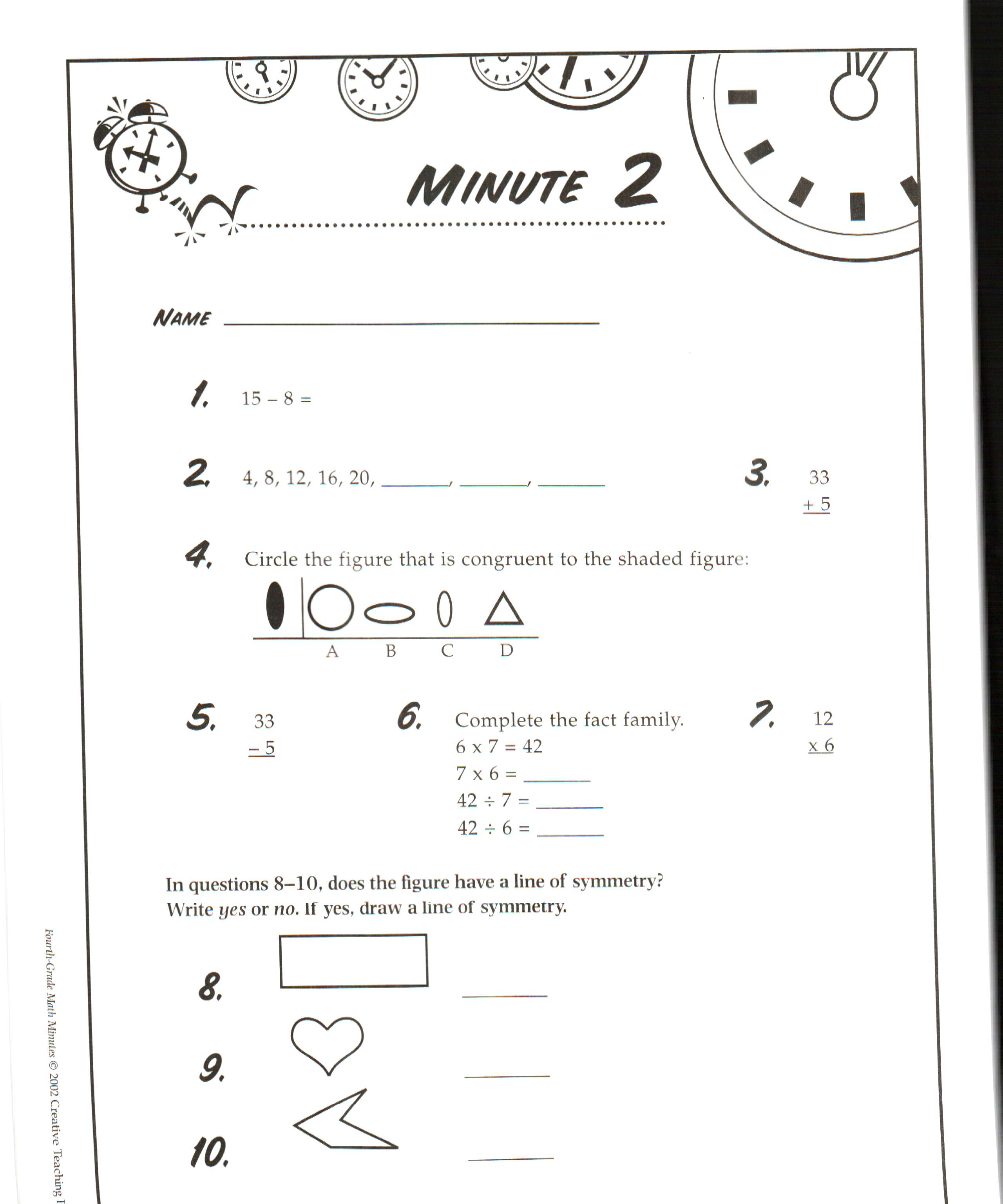Printables Math Minute Worksheet 3rd grade daily math minutes mrs faoro download file