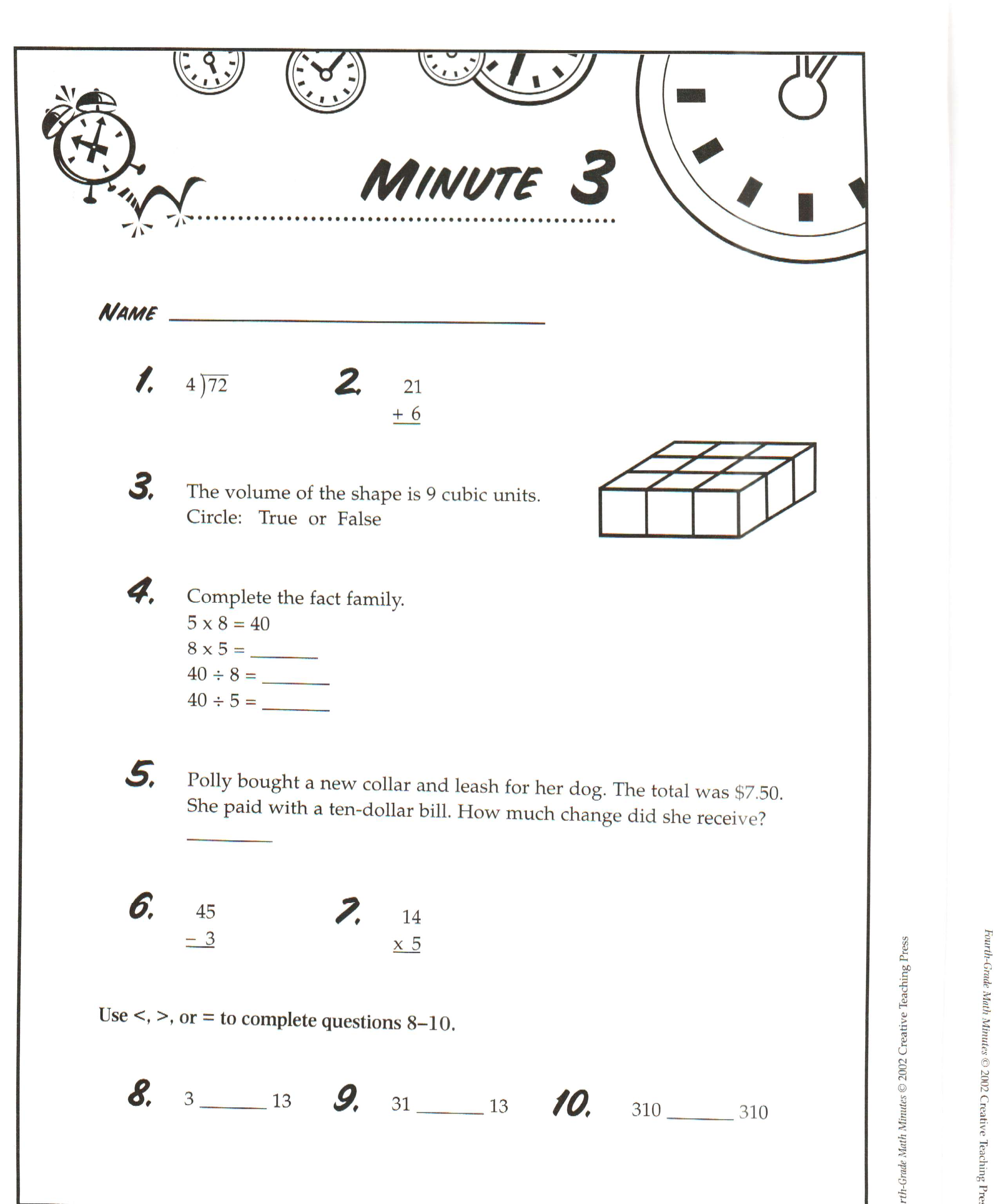 {Math Minutes Worksheets – Math Minute Worksheets