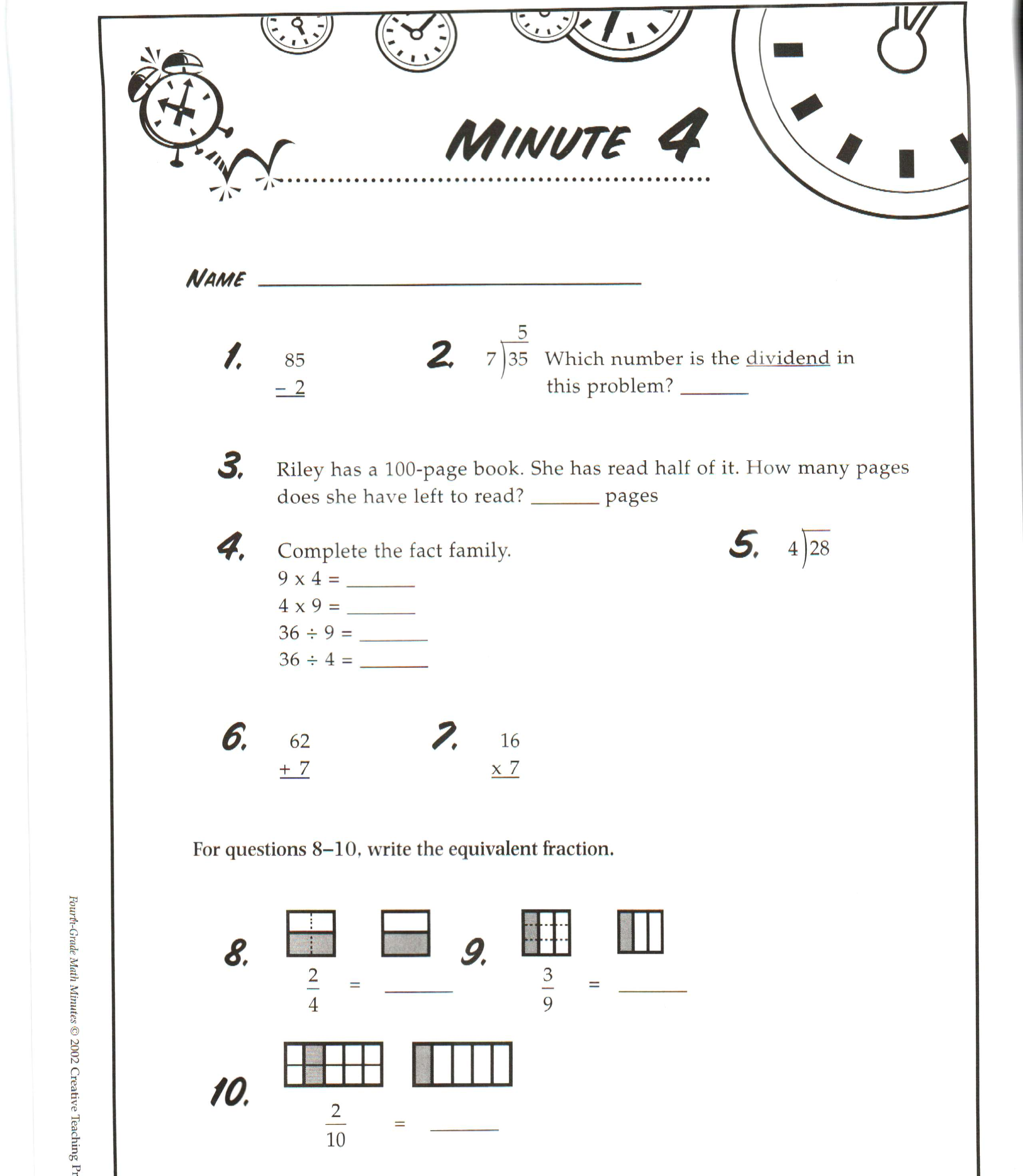 3rd grade math minute worksheets
